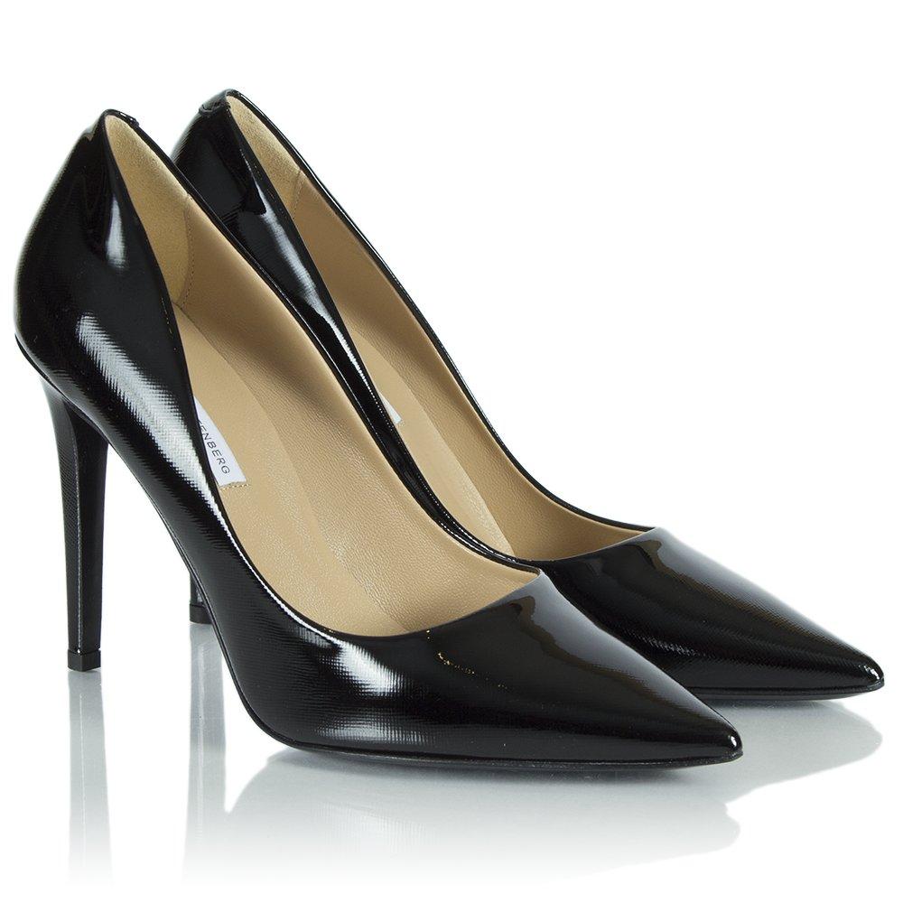 diane furstenberg black patent pointed court shoe