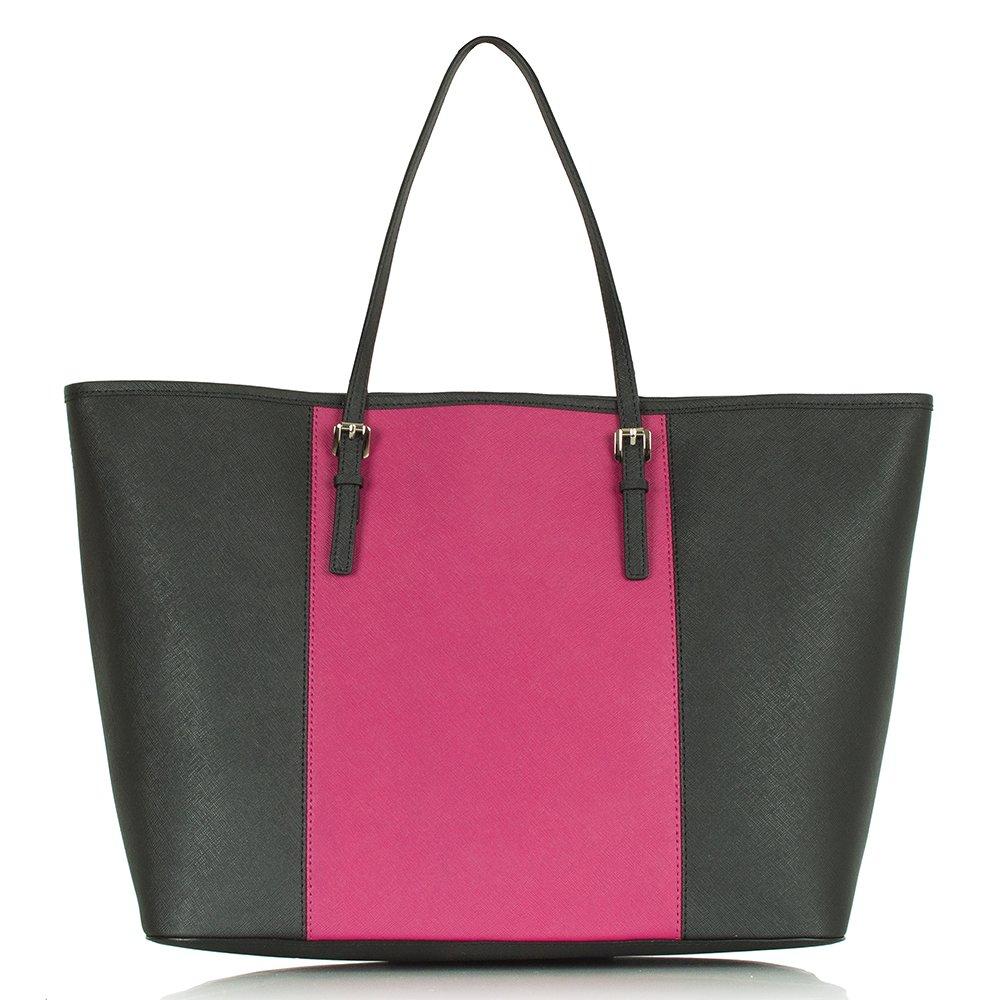 michael kors pink jet set travel contrast stripe tote bag. Black Bedroom Furniture Sets. Home Design Ideas