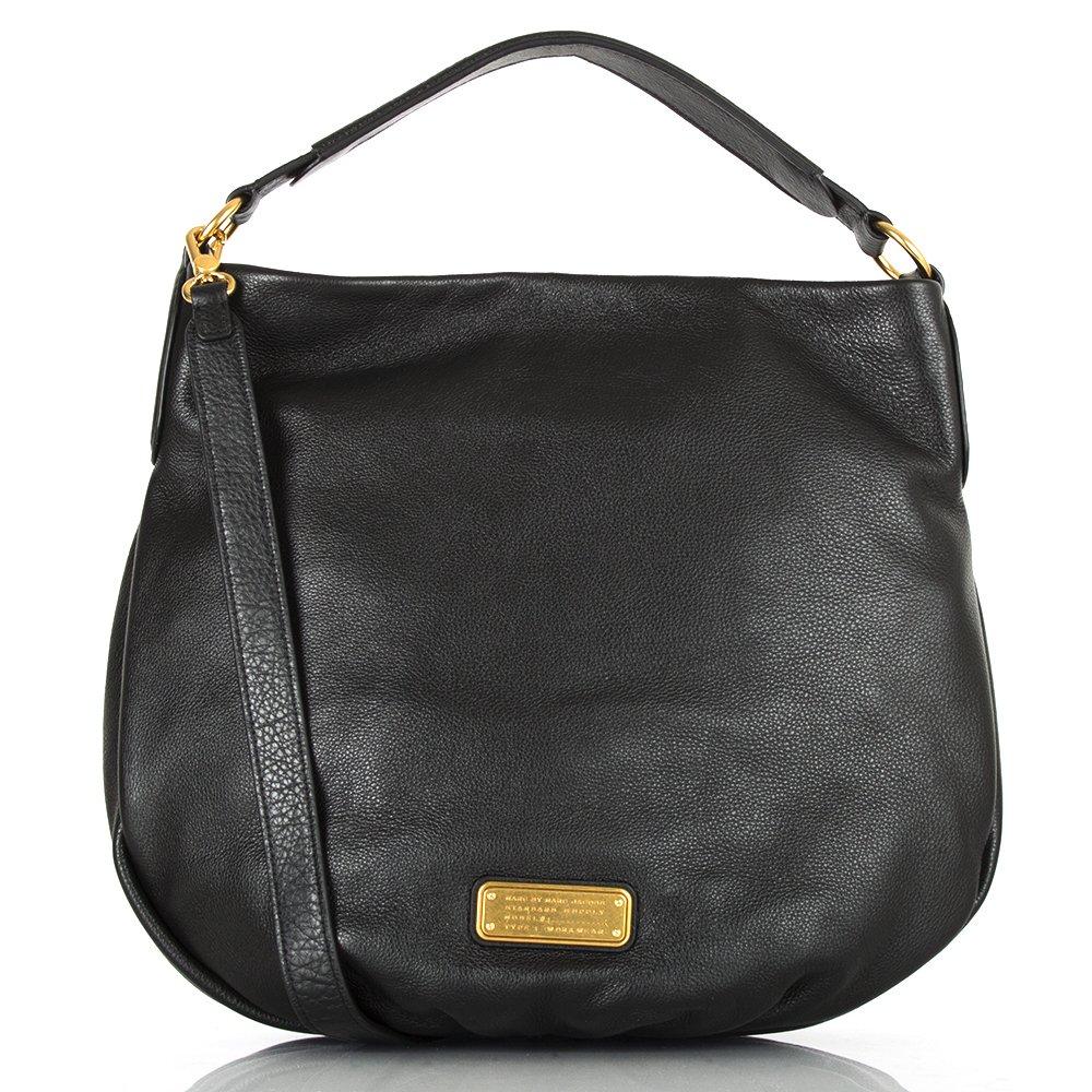 marc by marc jacobs black leather new q hillier hobo bag. Black Bedroom Furniture Sets. Home Design Ideas