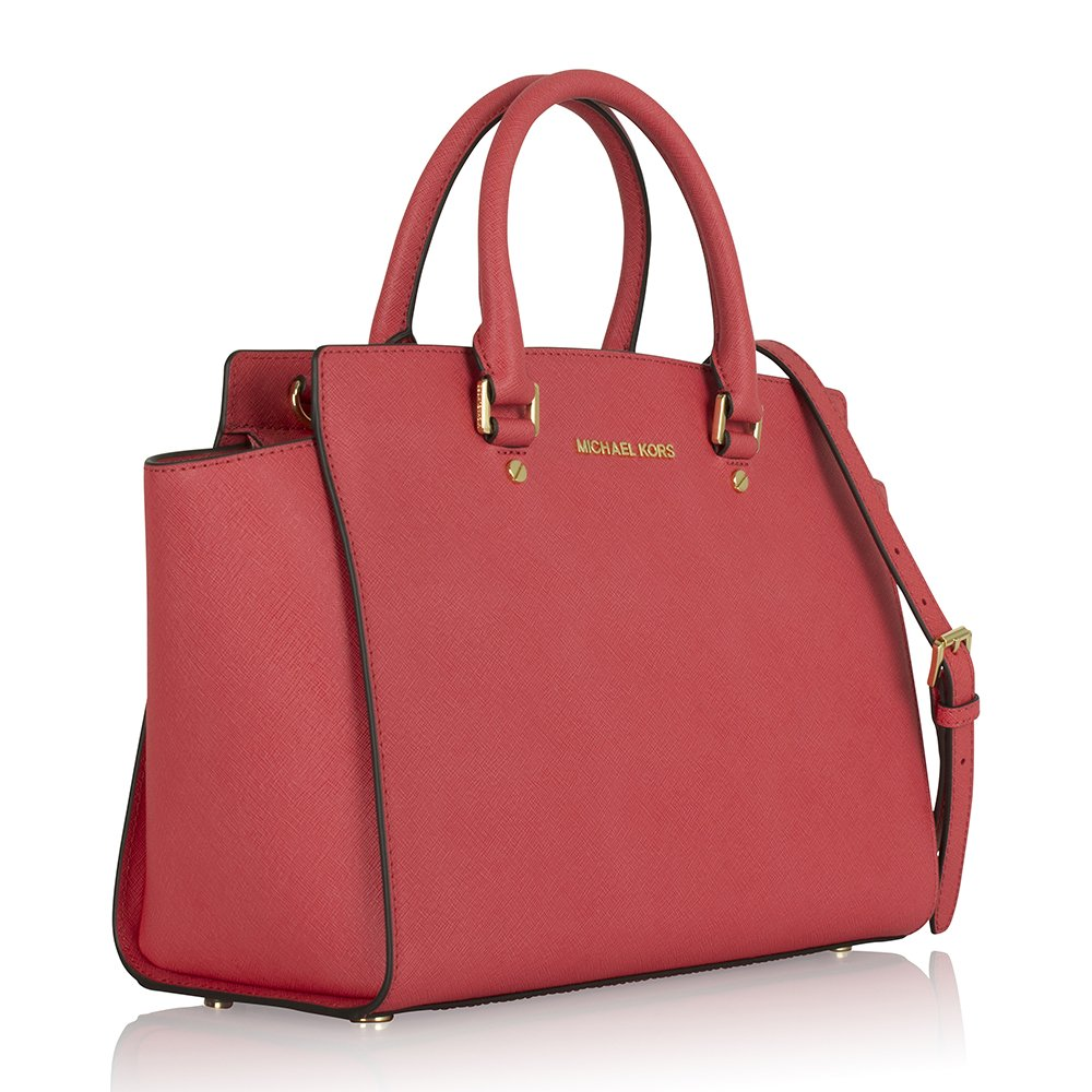 michael kors pink leather selma large satchel. Black Bedroom Furniture Sets. Home Design Ideas