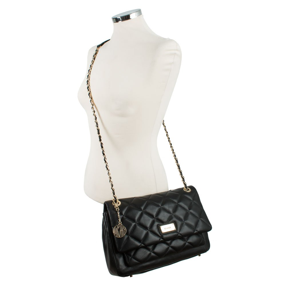 dkny black leather harry quilted crossbody bag