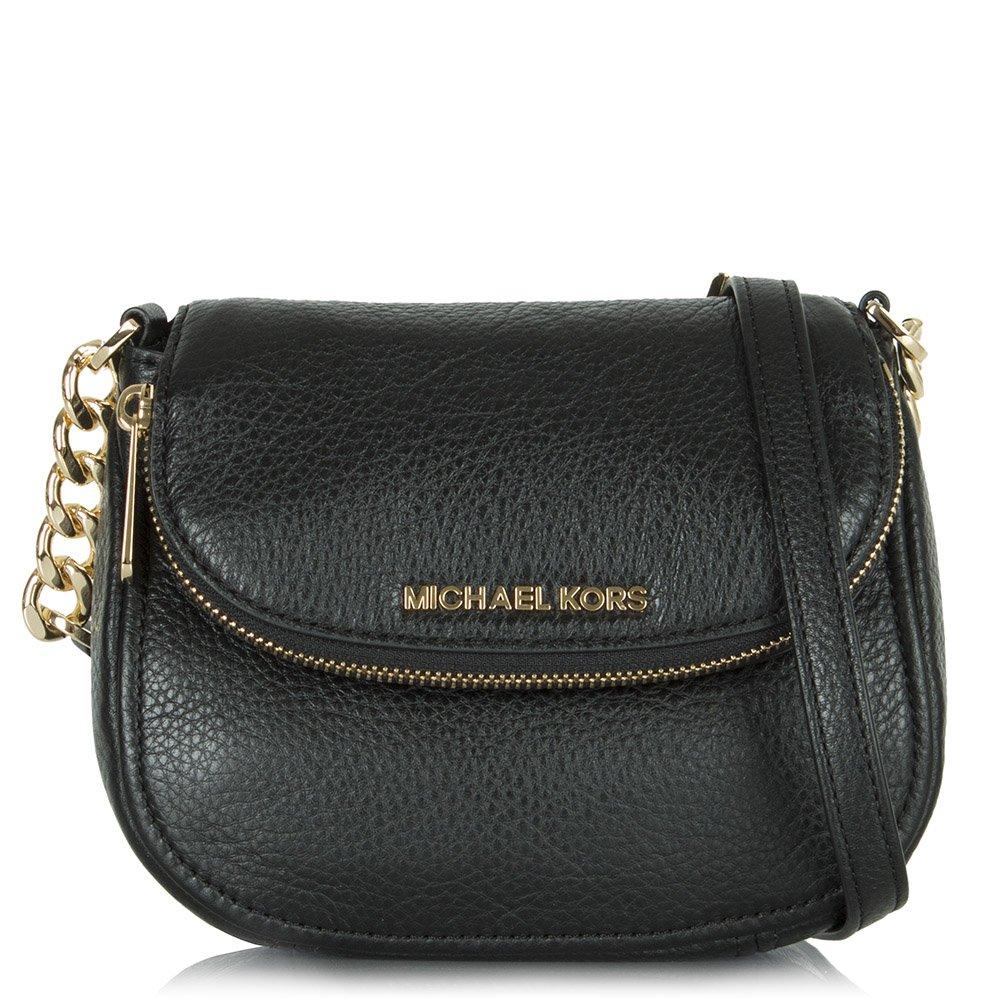 michael kors black leather bedford flap crossbody bag