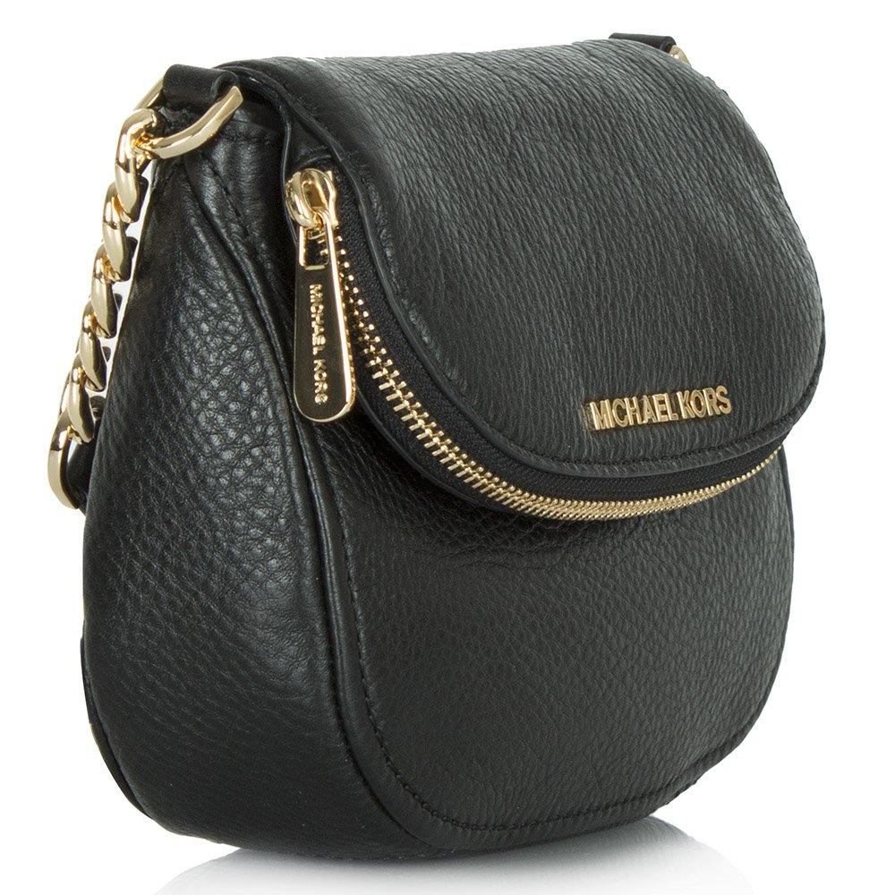 141fe215ba07 Michael Kors Bedford Flap Black Leather Crossbody Bag | Stanford ...