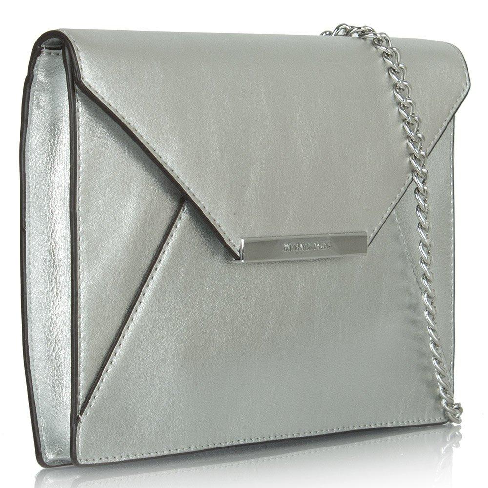 michael kors silver leather lana envelope clutch. Black Bedroom Furniture Sets. Home Design Ideas