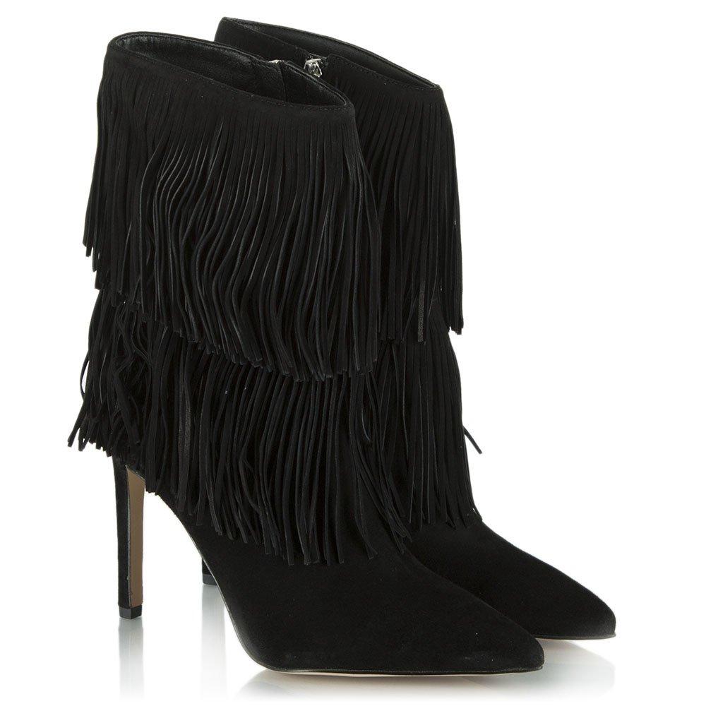 sam edelman black suede belinda fringed ankle boot