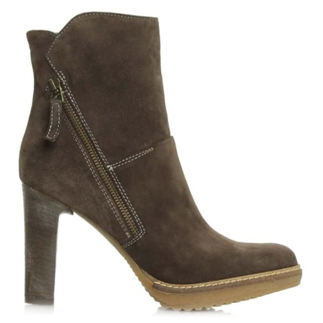 11 Brown Suede Platform Zipper Ankle Boot