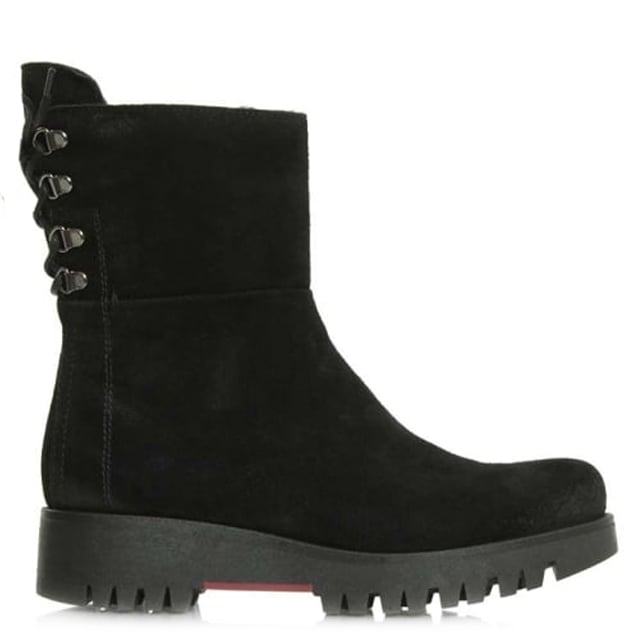 15 Black Suede Tie Back Chunky Ankle Boot