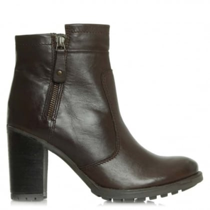 Manas 17 Brown Leather Zipper Ankle Boot