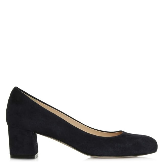 21 Navy Suede Block Heel Court Shoe