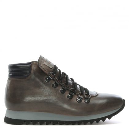 6Q Grey Leather Walking Boots