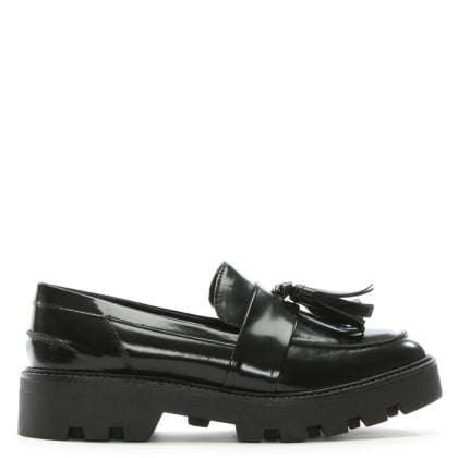 Aba Black Patent Tassel Loafers