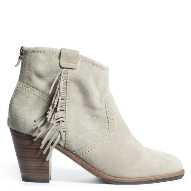 Abashiri Beige Suede Zip Back Fringed Ankle Boot