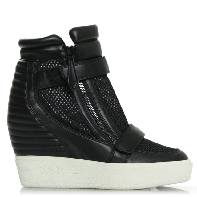 Absolute Black Leather Wedge Trainer