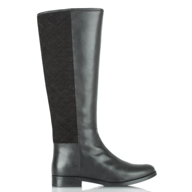 Acaster Quilted Back Black Leather Knee Boot