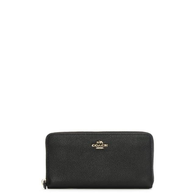 Coach Accordion Black Pebbled Leather Zip Around Wallet