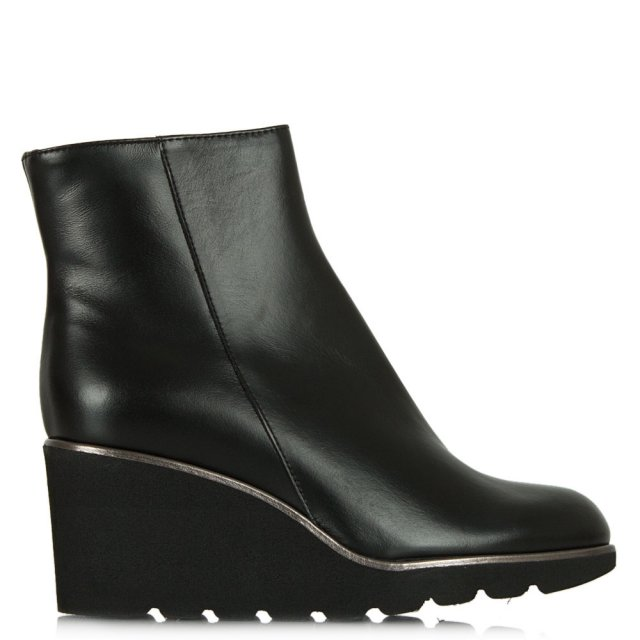 Achieve Black Leather Mid Wedge Ankle Boot