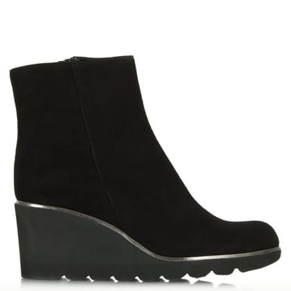 Achieve Black Suede Mid Wedge Ankle Boot