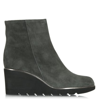 Achieve Grey Suede Mid Wedge Ankle Boot