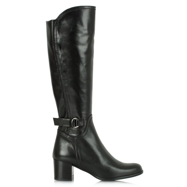 Acimal 37 Black Leather Buckle Knee High Boot