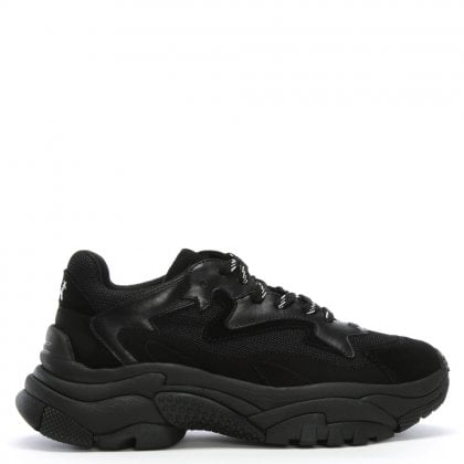 Addict Black Leather & Mesh Chunky Trainers