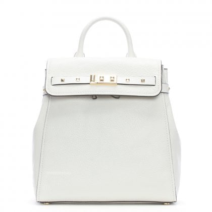 Addison Optic White Pebbled Leather Backpack