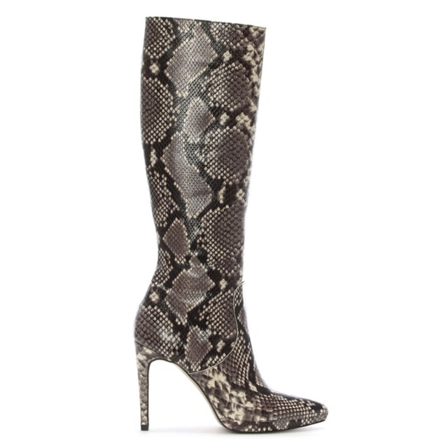 Adelaware Beige Reptile Low Platform Mid Length Boots