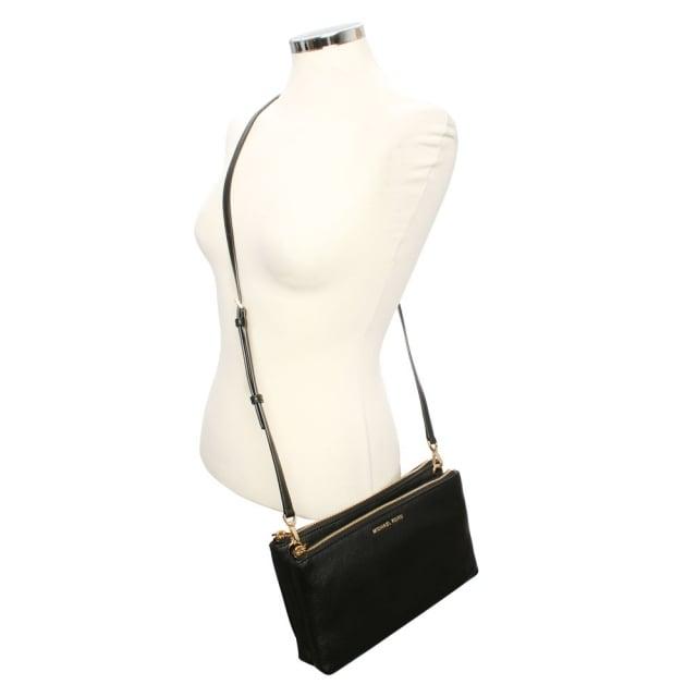 09d85c8c4586 Michael Kors Adele Gusset Black Leather Cross-Body Bag