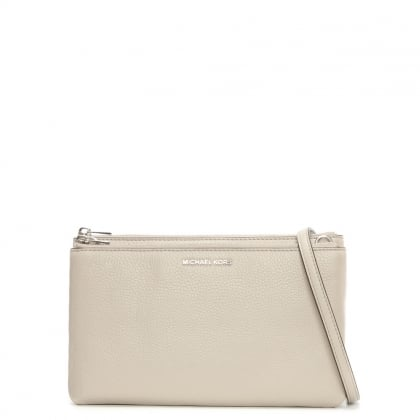 Adele Gusset Cement Leather Cross-Body Bag