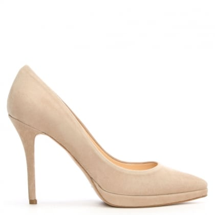 Ademet Beige Suede Low Platform Court Shoe