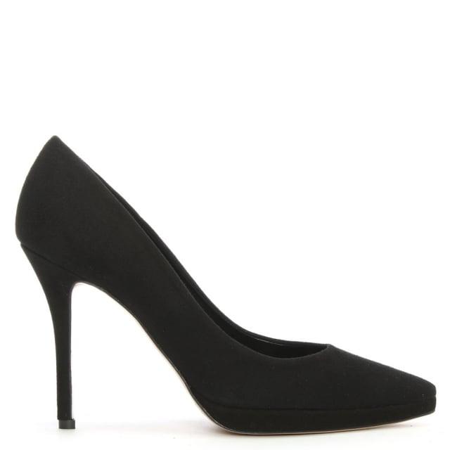 daniel ademet black suede low platform court shoe