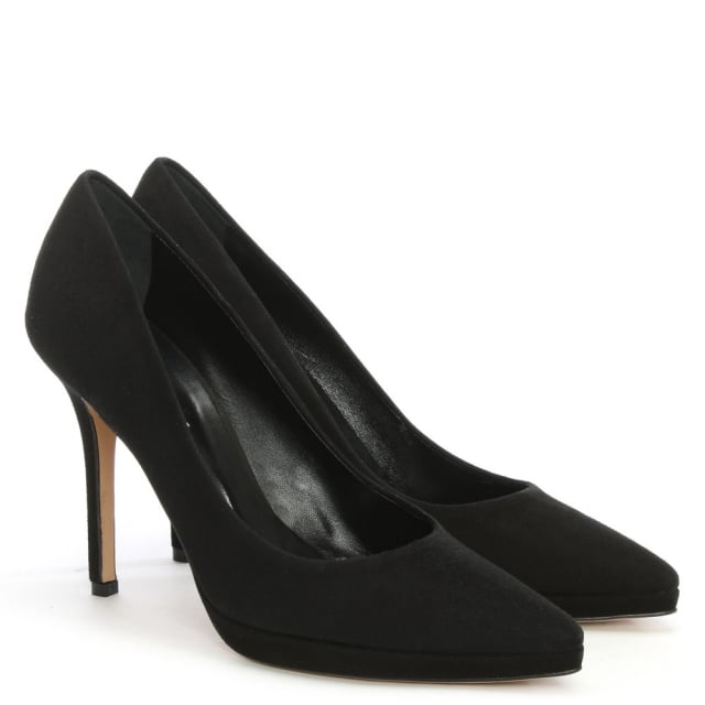 Daniel Ademet Black Suede Low Platform Court Shoe