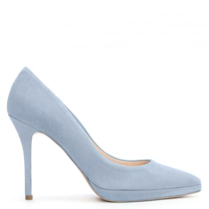 Daniel Ademet Blue Suede Low Platform Court Shoe