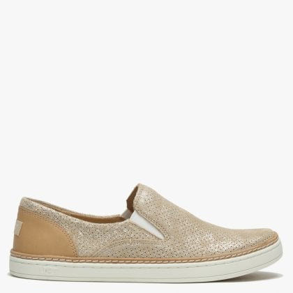 63f1888bb23 Adley Stardust Gold Suede Perforated Pumps