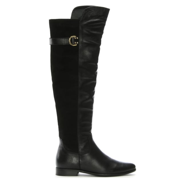 DF By Daniel Adlington Black Leather & Suede Over The Knee Boots