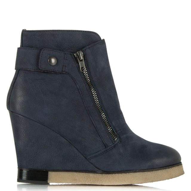 Adorable Navy Leather Wedge Double Zip Ankle Boot