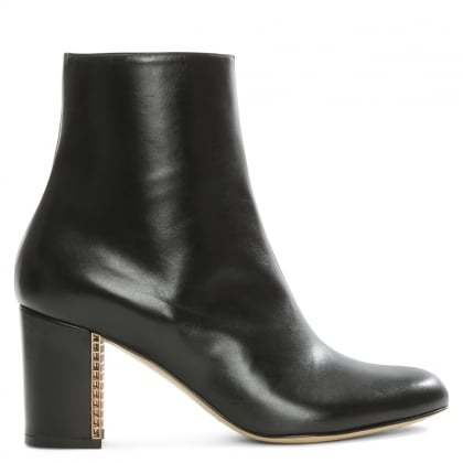 Adriana Black Leather Cage Heel Ankle Boot