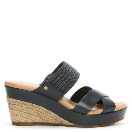 Adriana Marino Leather Wedge Mule
