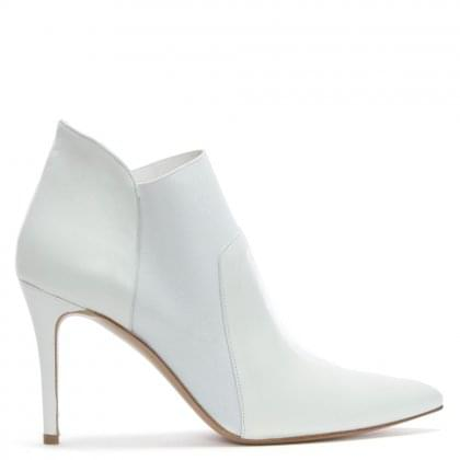 Afede White Leather Pointed Toe Chelsea Boots