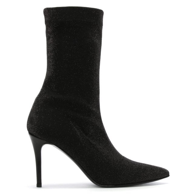 Afemini Black Metallic Stretch Sock Ankle Boots