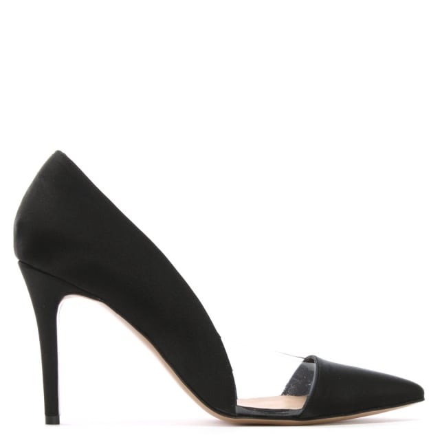 Aferrel Black Satin Perspex Insert Court Shoes