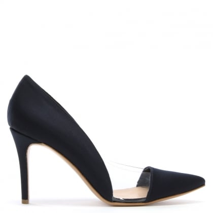 Aferrel Navy Satin Perspex Insert Court Shoes