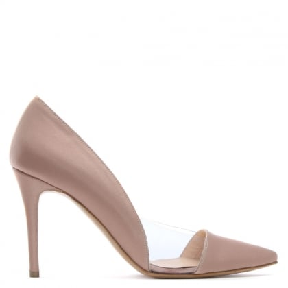 Aferrel Pink Satin Perspex Insert Court Shoes