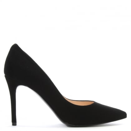 Affie Black Suede Court Shoes