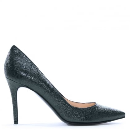 Affie Navy Metallic Leather Court Shoes