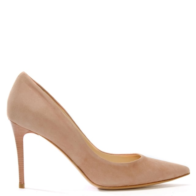 Affie Pink Suede Court Shoes