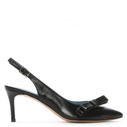 Afill Black Leather Bow Sling Back Court Shoes