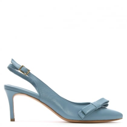 Afill Blue Leather Bow Sling Back Court Shoes