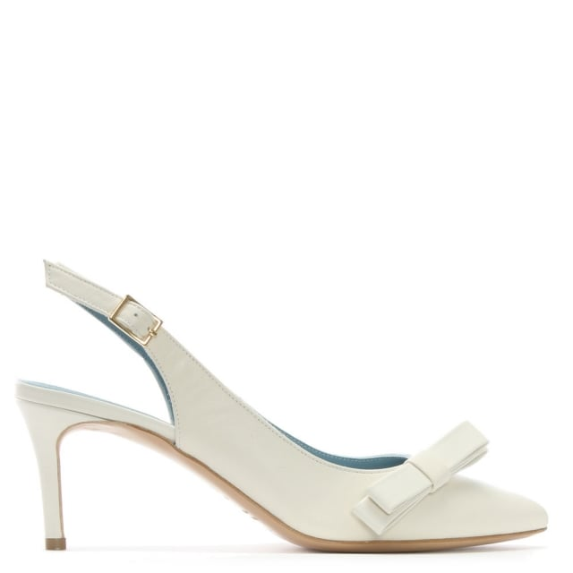 Afill White Leather Bow Sling Back Court Shoes