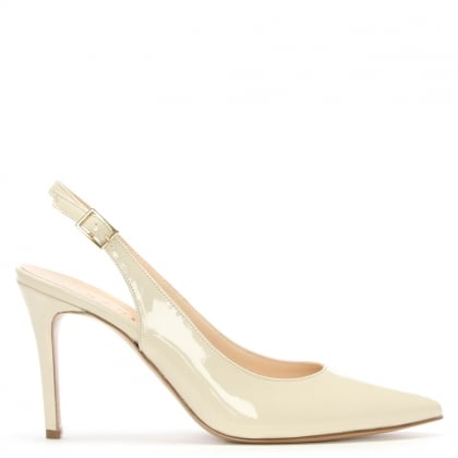 Afiore Beige Patent Leather Pointed Toe Sling Back Court Shoes