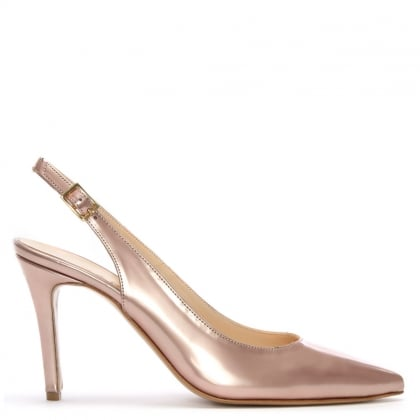 Afiore Pink Patent Leather Pointed Toe Sling Back Court Shoes